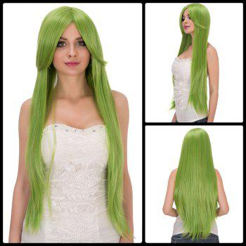 Fairy Neon Bright Green Long Straight Side Bang Film Character Cosplay Wig