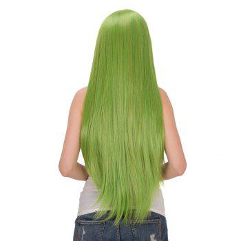 Fairy Neon Bright Green Long Straight Side Bang Film Character Cosplay Wig - Vert Fluorescent