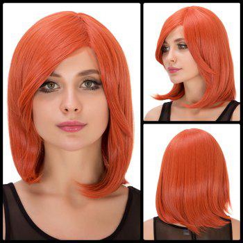 Fresh Orange Medium Side Bang Straight Film Character Cosplay Wig