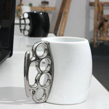 Creative Fred Friends Fist Shape Coffee Mug - SILVER AND WHITE SILVER/WHITE