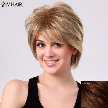 Fluffy Natural Straight Layered Siv Hair Side Bang Capless Human Hair Short Wig