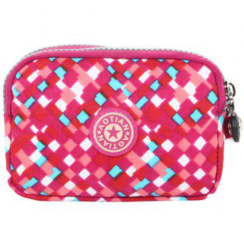 Simple Zippers and Plaid Pattern Design Women's Coin Purse - RED RED