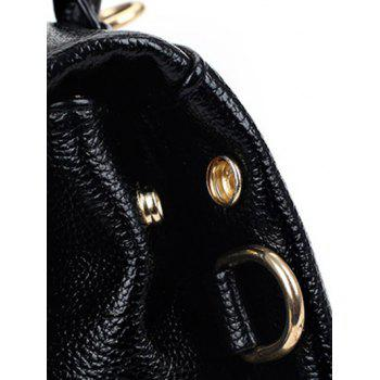 Stylish Embroidery and PU Leather Design Women's Backpack - BLACK
