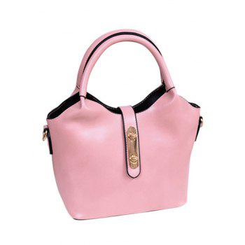 PU Leather Double Hasp Design Tote Bag