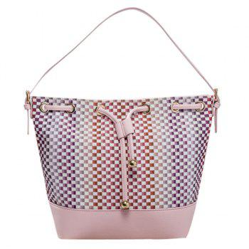 Stylish Tiny Plaid and Splicing Design Women's Shoulder Bag