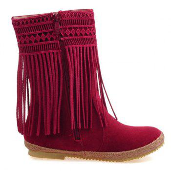 Hollow Out Fringe Design Mid-Calf Boots - WINE RED 39