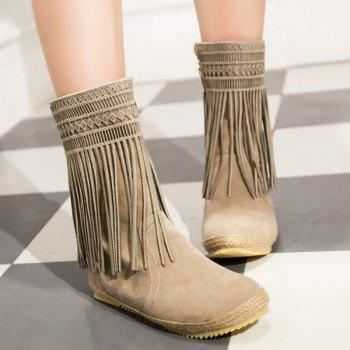 Hollow Out Fringe Design Mid-Calf Boots - LIGHT KHAKI 39
