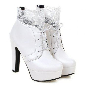 Chunky Heel Lace Splice Ankle Boots - WHITE 39