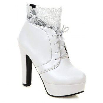 Chunky Heel Lace Splice Ankle Boots