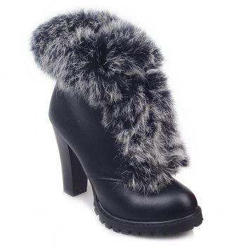 Faux Fur Chunky Heel Design Ankle Boots
