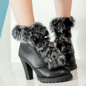 Faux Fur Chunky Heel Design Ankle Boots - BLACK 39