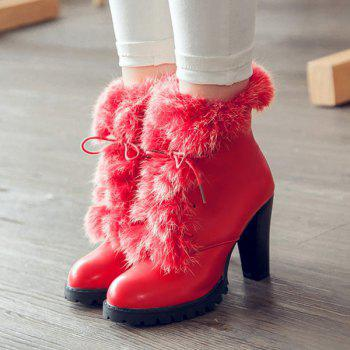 Faux Fur Chunky Heel Design Ankle Boots - RED 39