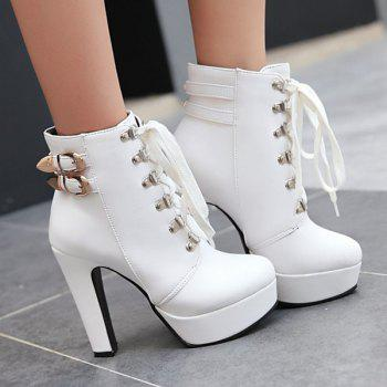 Buckle Chunky Heel Lace-Up Short Boots - WHITE 39
