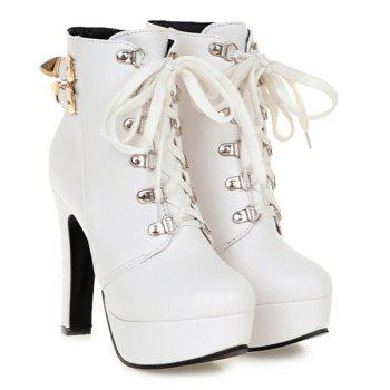 Buckle Chunky Heel Lace-Up Short Boots - WHITE 37