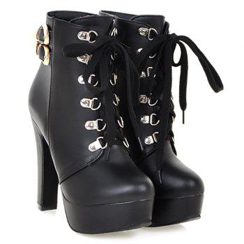 Buckle Chunky Heel Lace-Up Short Boots - BLACK 37