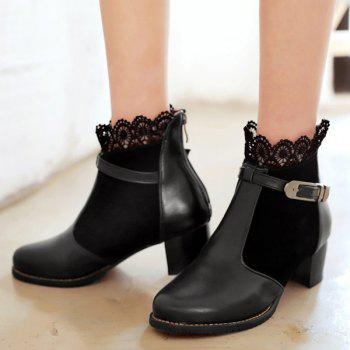 Chunky Heel Lace Splicing Short Boots - BLACK 39