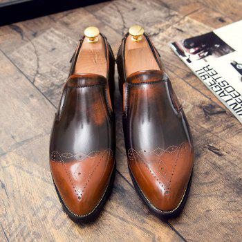 Engraving Pointed Toe Shoes - Brun 42