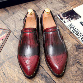 Engraving Pointed Toe Shoes - RED RED