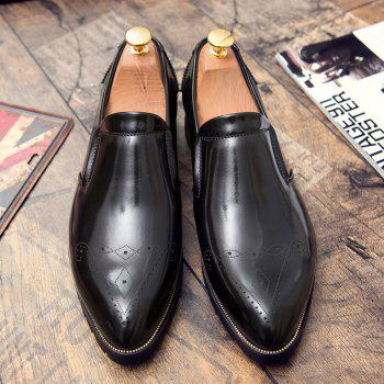 Engraving Pointed Toe Shoes - BLACK BLACK