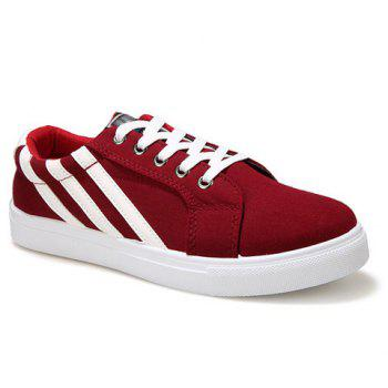 Casual Stripe and Lace-Up Design Men's Canvas Shoes