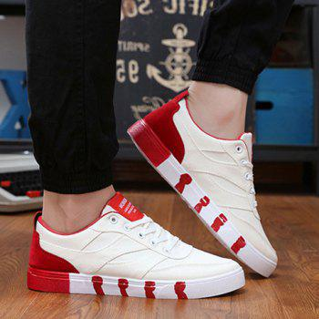 Stylish Splicing and Lace-Up Design Men's Canvas Shoes