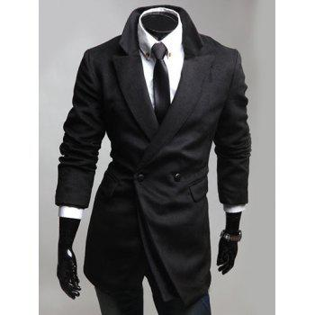 Double Breast Notched Lapel Collar Coat