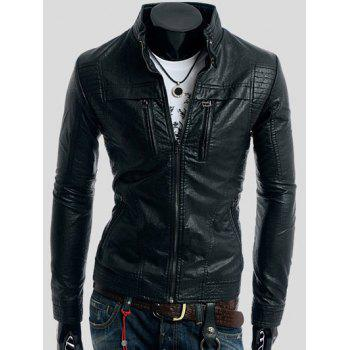 Zippers Design PU Leather Jacket