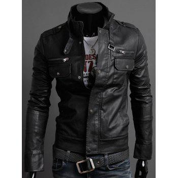 Pockets Design PU Leather Jacket