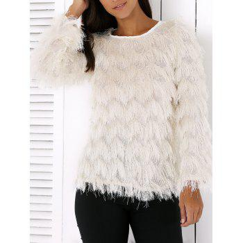 Wavy Fringed Design Pullover Sweater