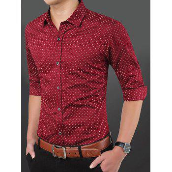 Plus Size Turn-Down Collar Waviness Long Sleeve Shirt - RED RED