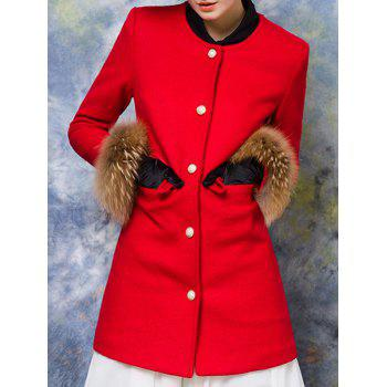 Buttoned Pocket Design Fur Embellished Coat