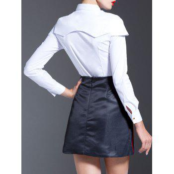 White Splicing Shirt + High Waist Printed Skirt Twinset - WHITE WHITE