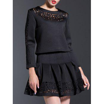 Hollow Out T-Shirt + High-Waisted Ruched Skirt Twinset - BLACK 2XL