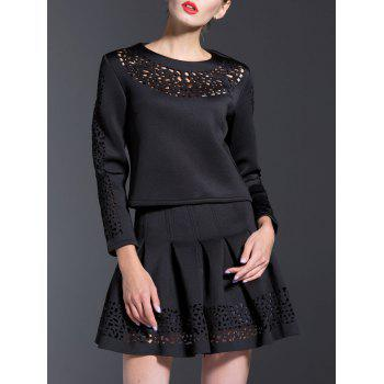 Hollow Out T-Shirt + High-Waisted Ruched Skirt Twinset - BLACK BLACK