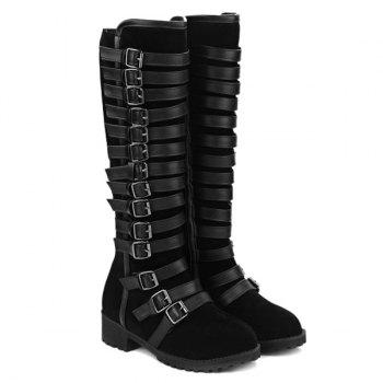 Suede Multi Buckles Mid-Calf Boots - BLACK 37