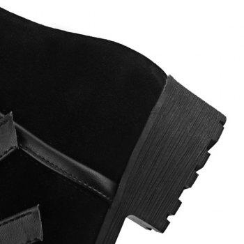 Suede Multi Buckles Mid-Calf Boots - BLACK 38