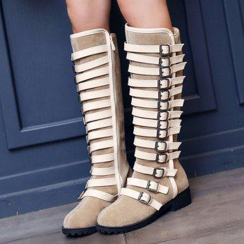 Suede Multi Buckles Mid-Calf Boots - LIGHT CAMEL 37