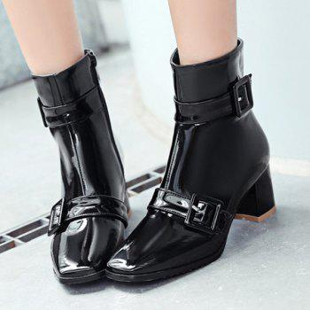 Square Toe Buckles Patent Leather Short Boots - BLACK 39