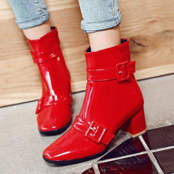 Square Toe Buckles Patent Leather Short Boots - RED 39