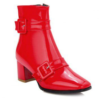 Square Toe Buckles Patent Leather Short Boots