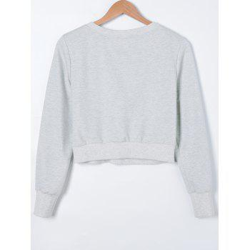 Casual Crop manches longues Lace-Up Top - Gris Clair S