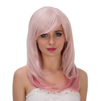 Fresh Pink Ombre Long Side Bang Straight Tail Adduction Film Character Cosplay Wig - COLORMIX