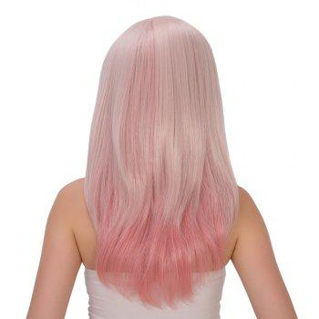 Fresh Pink Ombre Long Side Bang Straight Tail Adduction Film Character Cosplay Wig - multicolorcolore