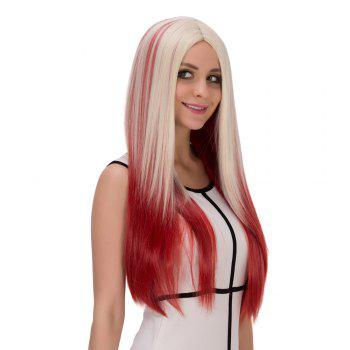 Long Centre Parting Straight Film Character Cosplay Wig - RED/WHITE
