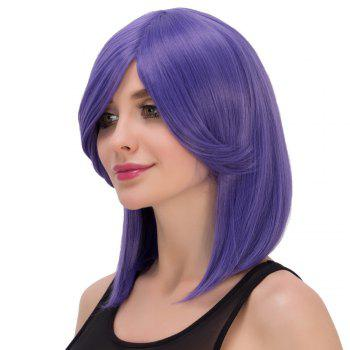 Medium Violet Side Bang Fashion Straight Film Character Cosplay Wig - VIOLET
