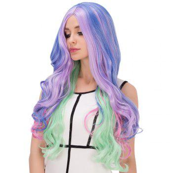 Colorful Long Wavy Centre Parting Film Character Cosplay Wig - COLORMIX