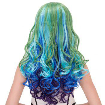 Colorful Film Character Long Wavy Centre Parting Cosplay Wig - COLORMIX