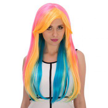 Long Side Bang Straight Rainbow Film Character Cosplay Wig - COLORMIX