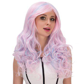 Colored Film Character Long Fluffy Side Bang Wavy Cosplay Wig - COLORMIX