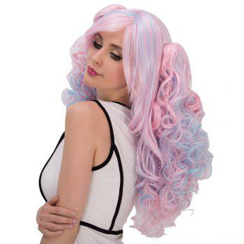 Colored Film Character Long Fluffy Side Bang Wavy With Bunches Cosplay Wig - COLORMIX